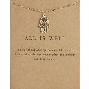 🎁 All Is Well Necklace Gold Hamsa Hand New NIP